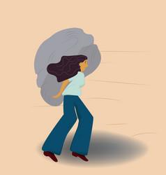 Heavy burden a woman carrying a heavy stone vector