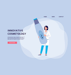 Innovative cosmetology banner with dermatologist vector
