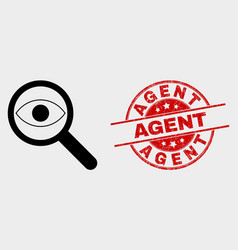 Investigate icon and scratched agent seal vector
