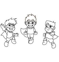 Kid Super Heroes Flying Pose Outline vector image