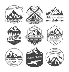 Landscape icons of mountains or hills badges vector