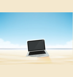 Laptop computer in beach sand vector