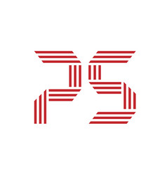 letter p and s logo vector image