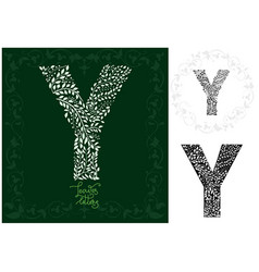 letter y made with decorative leaves vector image
