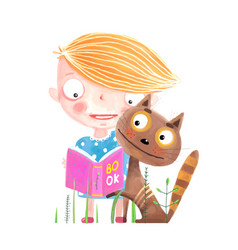 Little kid and cat with book vector