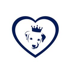 love king dog concept logo icon vector image