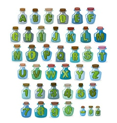 Magic font Green letters in magical flasks vector image