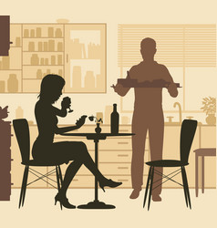 man serving woman vector image