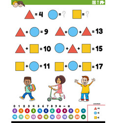 Math addition educational task with children vector