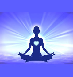 Meditation woman silhouette on blue background vector