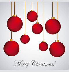 merry christmas poster red balls hanging vector image