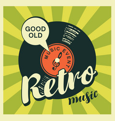 music banner with vinyl record in retro style vector image