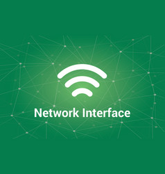 network interface white text with vector image