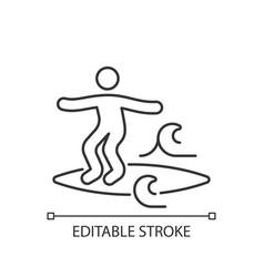 Noseriding surfing technique linear icon vector