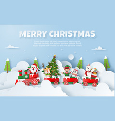origami paper art christmas party on train vector image