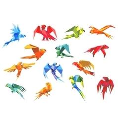 origami paper models parrots vector image