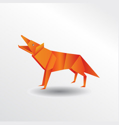 origami wolf vector image
