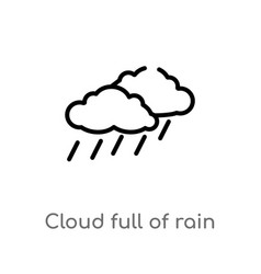 outline cloud full rain icon isolated black vector image