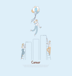 People climbing career ladder to success vector