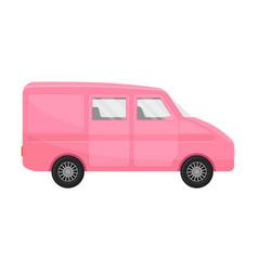 Pink cargo passenger minivan vector