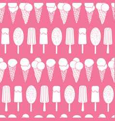 pink ice cream stripes seamless pattern vector image