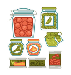 Preserves in glass jars homemade vegetables vector