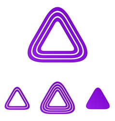 Purple line triangle logo design set vector image