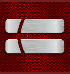 Red metal perforated background with two long cut vector