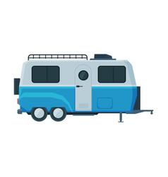 Retro travel trailer mobile home for summer vector