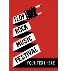 Rock music poster with hand billboard template vector