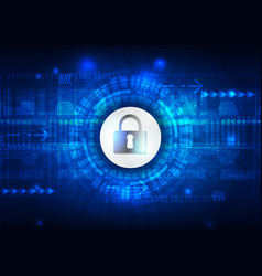 Safety concept closed padlock on digital cyber vector