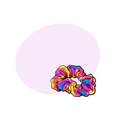 scrunchy elastic fabric covered hair tie fashion vector image