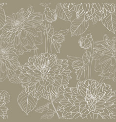 seamless pattern olive line dahlia flowers vector image