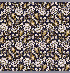 seamless pattern with geometric ornament flora vector image