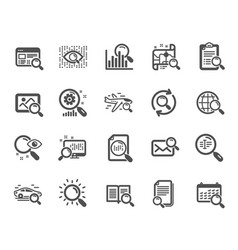 search icons set of indexation artificial vector image