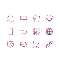 set network social media icons line vector image