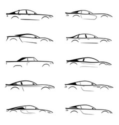 Set of a black slhouette car on white background vector