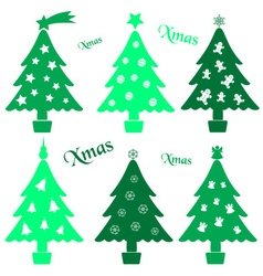 Set of christmas green tree decoration collection vector