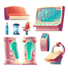Set of futuristic equipment for hibernation vector
