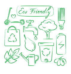 set of hand drawn ecology icons vector image