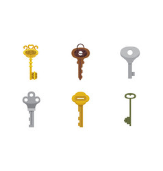set of vintage keys cartoon vector image