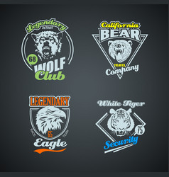 set vintage wild animal retro logos colored vector image