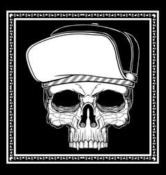 Skull wearing hat hand drawing vector