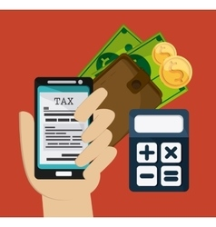 Smartphone and calculator icon tax and financial vector