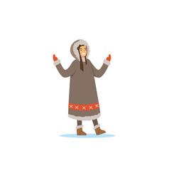 smiling eskimo inuit chukchi woman in vector image