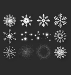 snowflakes set elegant design elements collerion vector image