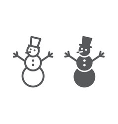Snowman line and glyph icon christmas and winter vector