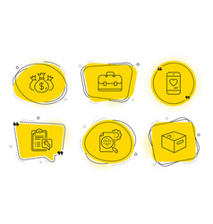 Spanner love chat and portfolio icons set check vector