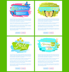 spring sale web poster with bouquet of daffodils vector image