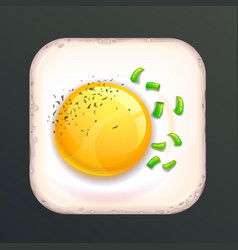 Square shaped fried egg vector